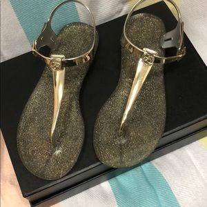 Jessica Simpson gold sparkle jelly sandals
